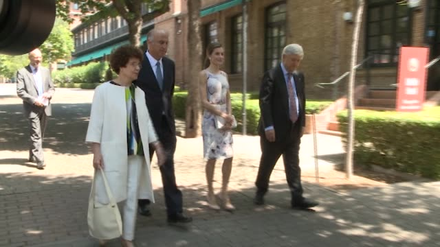 queen letizia of spain attends a meeting at the students residence - queen letizia of spain stock videos and b-roll footage