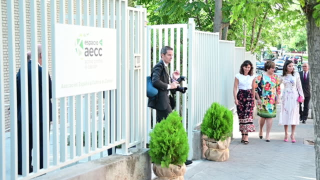 queen letizia of spain attends aecc event in madrid on july 8 2019 in madrid spain - teilnehmen stock-videos und b-roll-filmmaterial