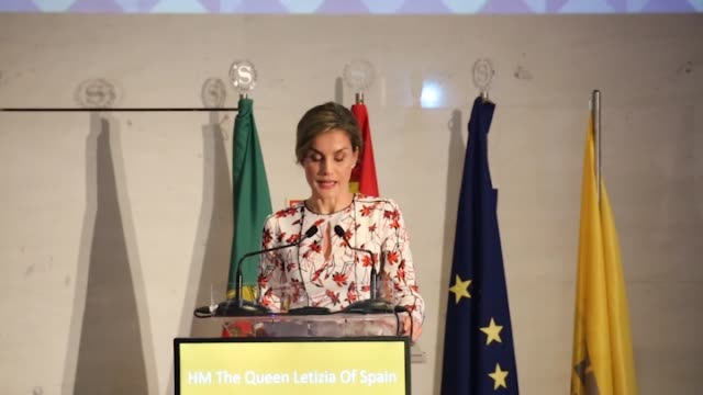 queen letizia of spain attends forum against cancer in porto - queen letizia of spain stock videos and b-roll footage