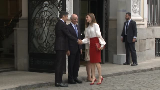 queen letizia of spain attends the 10th anniversary of 'microfinanzas bbva' at the bbva bank foundation on may 29 2017 in madrid spain - queen letizia of spain stock videos and b-roll footage