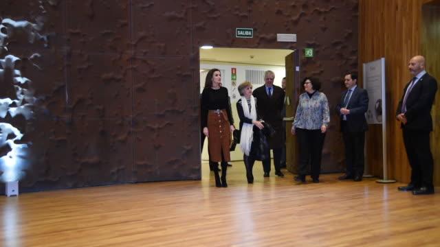 vídeos y material grabado en eventos de stock de queen letizia of spain attends the forum against cancer 'por un enfoque integral' at caixaforum on february 04 2019 in madrid spain - letizia