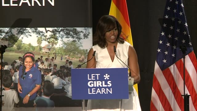 queen letizia of spain attends the presentation of let girls learn by us first lady michelle obama who shares the stories of girls she has met in her... - queen letizia of spain stock videos and b-roll footage