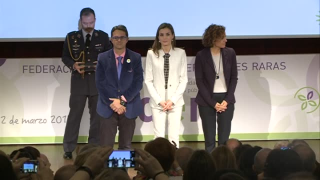 queen letizia of spain attends the rare diseases day offcial act - queen letizia of spain stock videos and b-roll footage