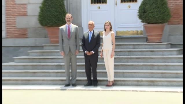 Queen Letizia of Spain receives Portuguese President Marcelo Rebelo de Sousa at Zarzuela Palace on May 26 2017 in Madrid Spain