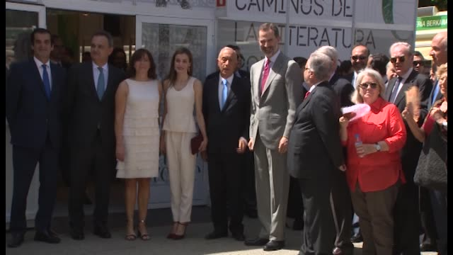 Queen Letizia Portuguese President Marcelo Rebelo de Sousa and King Felipe VI of Spain inaugurate Books Fair 2017 on May 26 2017 in Madrid Spain