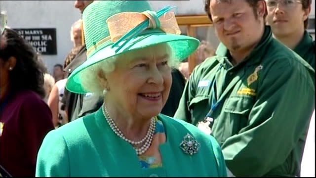 queen makes first visit to scilly isles since 1967 queen meeting members of the emergency services during visit - isles of scilly stock videos & royalty-free footage