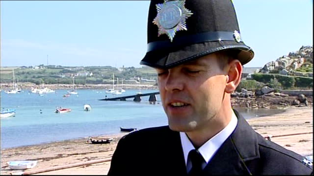 queen makes first visit to scilly isles since 1967; sergeant charlie craig interview sot - talks of how royal security have handled the visit... - isles of scilly stock videos & royalty-free footage