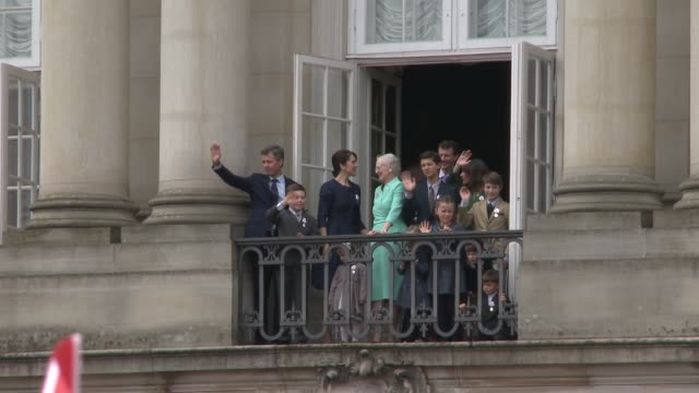 queen margrethe ii of denmark and the danish royal family appear before the public on the balcony of amalienborg palace as she celebrates her 75th... - queen's birthday stock videos & royalty-free footage