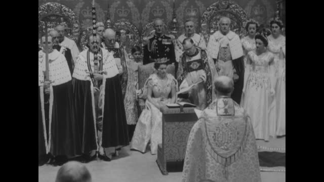 queen mary queen mother elizabeth princess margaret princess alice / archbishop of canterbury administers the oath of service / maids of honor / the... - coronation stock videos and b-roll footage