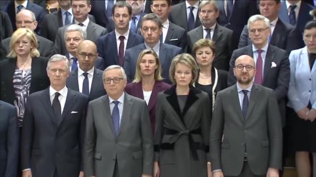 queen mathilde and king philippe of belgium european commission president jeanclaude juncker belgian prime minister charles michel french prime... - europäische kommission stock-videos und b-roll-filmmaterial