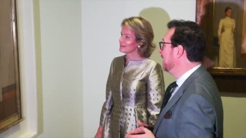queen mathilde of belgium visits an exhibition in paris featuring works by belgian master of symbolism fernand khnopff - royalty stock videos & royalty-free footage