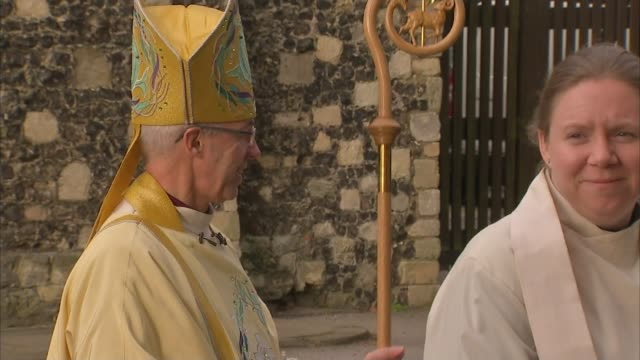 queen misses sandringham christmas service due to illness canterbury cathedtral ext various of justin welby along wearing robes and mitre - archbishop of canterbury stock videos and b-roll footage