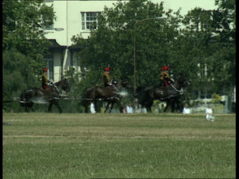 queen mother 89th birthday; hyde park: heat haze military band along in park / members of king's troop royal horse artillery across park pulling... - king royal person stock videos & royalty-free footage