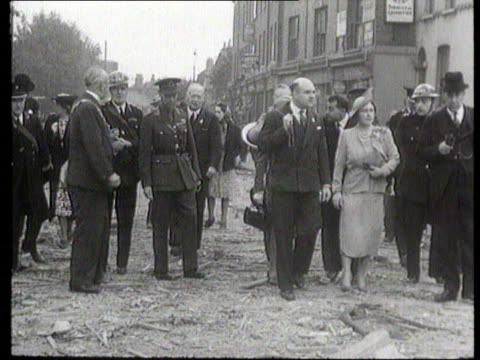queen mother 90th birthday; itn lib f'back king george vi & queen elizabeth visiting east end: - queen's birthday stock videos & royalty-free footage