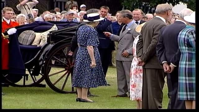 queen mother and prince charles at sandringham flower show itn norfolk sandringham queen mother helped out of carriage / queen mother in golf buggy /... - queen dowager stock videos and b-roll footage