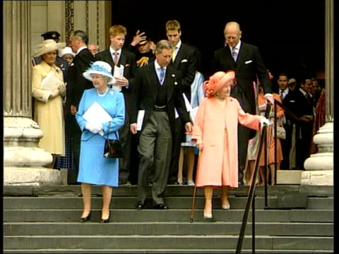 birthday service ITN Queen Mother using 2 walking sticks and Prince Charles leaving cathedral Queen Mother and Queen PULL OUT with other members of...