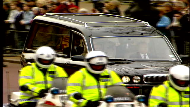 coffin moved to london england london st james marlborough road funeral cortege along turns to bv into st james's palace people getting out from car... - queen dowager stock videos and b-roll footage