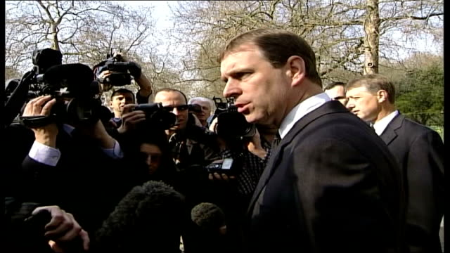 prince andrew walkabout england london st james' palace prince andrew speaking to press sot talks about the individual relationship the queen mother... - queen dowager stock videos and b-roll footage