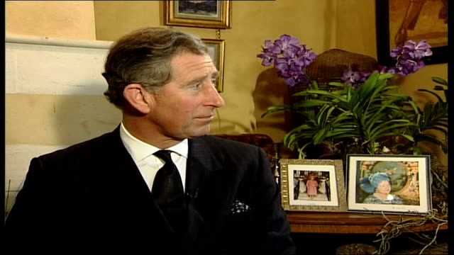 death prince charles tribute england gloucestershire highgrove int interview prince of wales as he pays tribute to his grandmother her royal highness... - queen dowager bildbanksvideor och videomaterial från bakom kulisserna