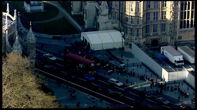 westminster aerials england london air view palace of westminster tgv the london eye as crowds of mourners queue to view queen mother's coffin at... - lambeth stock videos & royalty-free footage