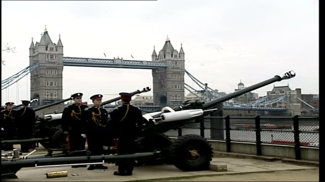 windsor castle / buckingham palace / gun salutes england london tower of london ext field guns fire 41 gun salute gvs guns firing during salute / gv... - queen dowager stock videos and b-roll footage
