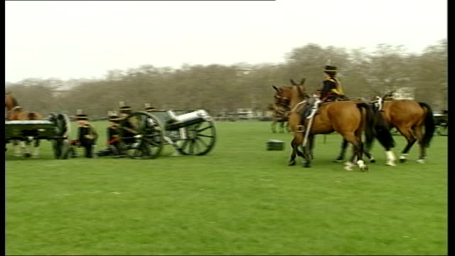 windsor castle / buckingham palace / gun salutes england london hyde park ext members of royal horse artillery along in park field guns lined up as... - queen dowager stock videos and b-roll footage