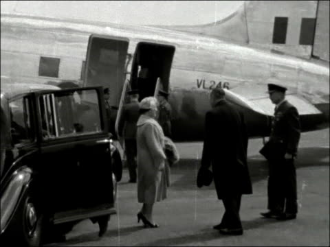 Queen Mother departs from London Airport ENGLAND London Airport EXT Queen Mother by car speaking to plane crew as arrives to board Queen's Viking...
