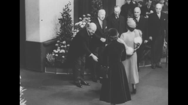 queen mother elizabeth princess margaret and prince charles are greeted by us ambassador walter s gifford robert gascoynececil and david maxwell fyfe - princess margaret 1950 stock videos and b-roll footage