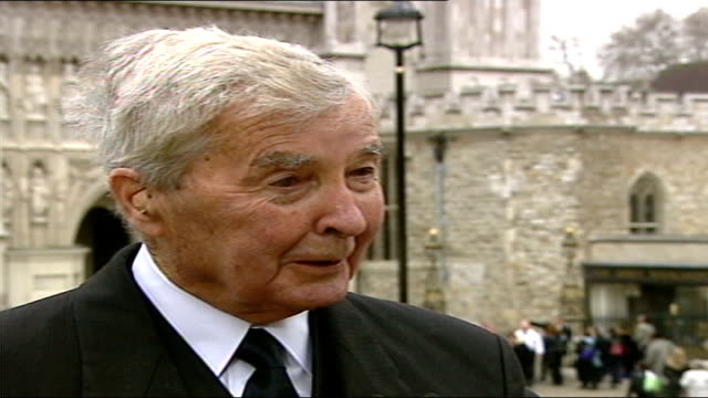 queen mother funeral special: 13.25 - 14.30:; england: london: westminster abbey: ext nightingale livespot & dick francis interviewed sot - nightingale stock videos & royalty-free footage