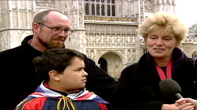 1325 1430 england london westminster abbey ext nightingale livespot family interviewed about experience sot - queen dowager stock videos and b-roll footage