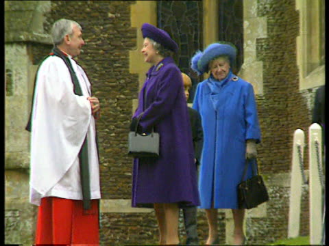 Queen Mother health aNAT Norfolk Sandringham MS Queen Mother looking frail as out of Church beside Queen talking to vicar and Prince Harry behind...