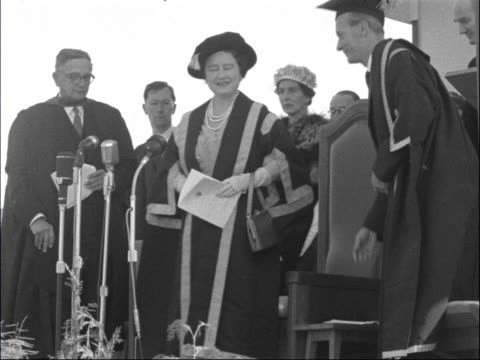 Queen Mother visit to Salisbury University SOUTHERN RHODESIA Salisbury EXT Queen Mother speaking with others Queen Mother along to platform for...