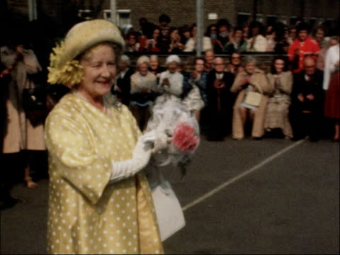 queen mother visits primary school as part of 80th birthday celebrations; queen mother applauding / tx 16.7.1980 / nat - queen's birthday stock videos & royalty-free footage