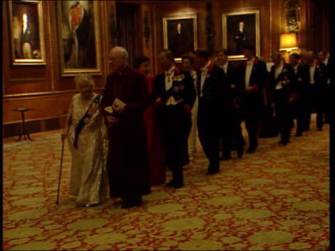 Queen Mother's 99th birthday LIB Queen Mother along at reception for the Hungarian president