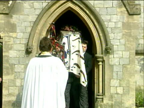 queen mother's coffin draped with royal standard is carried out of all saint's chapel by pallbearers 02 apr 02 - coffin stock videos & royalty-free footage