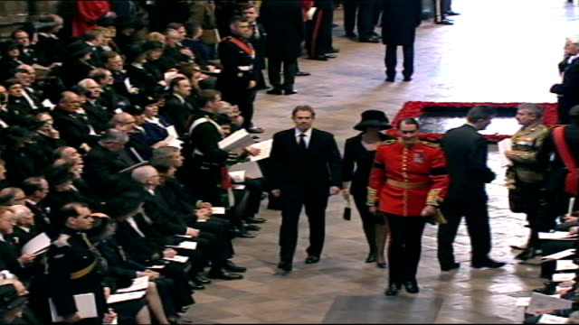 Queen mother's funeral arrivals and pall bearers carrying coffin ITNPOOL ENGLAND London various locations Tony Blair MP and wife Cherie Booth from...