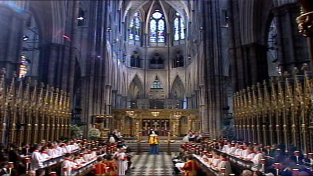 queen mother's funeral funeral service choir singing sot / various choir / group of clergymen inside abbey / sot unidentified member of clergy as... - congregation stock videos and b-roll footage