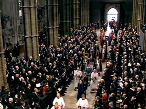 queen mother's funeral itn/pool london westminster prince charles prince of wales leading procession of royals towards behind coffin of queen mother... - funeral stock videos & royalty-free footage