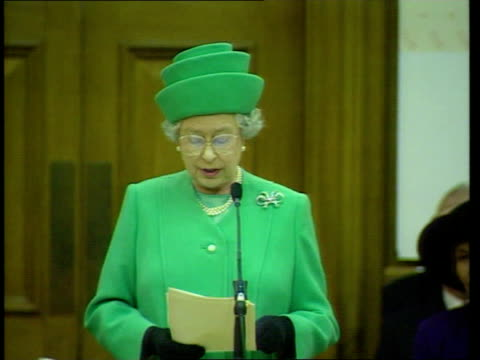 queen no longer speaks queen's english; lib westminster: church house: queen giving speech at the inauguration of the general synod of the church of... - synod stock videos & royalty-free footage