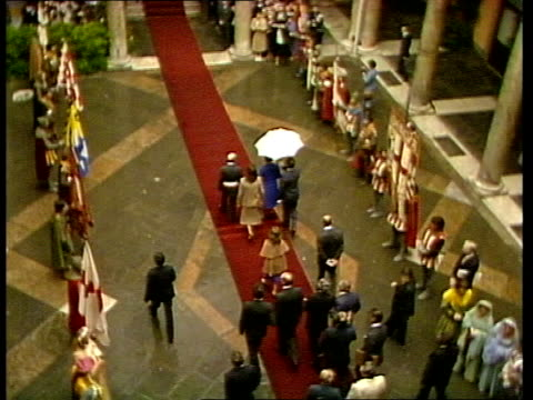 day two italy genoa photography *** ms street pan crowd ts queen elizabeth ii in crowd ms flag bearers in traditional dress ts queen in courtyard int... - courtyard stock videos and b-roll footage