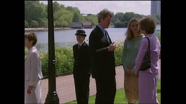 queen opens diana memorial fountain:; england: london: hyde park: ext diana memorial fountain opening ceremony part 3 of 14 schoolgirls in pink... - pink colour stock videos & royalty-free footage