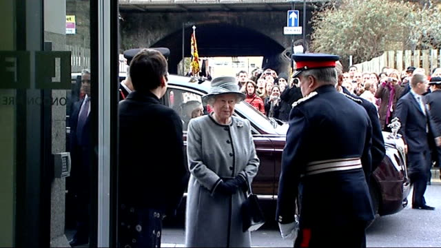 queen opens london fire brigade's new headquarters england london southwark throughout **** firefighters lined up / guard of honour and firefighters... - guard of honour stock videos and b-roll footage