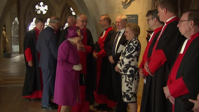 queen opens the queen's diamond jubilee galleries at westminster abbey england london westminster westminster abbey queen elizabeth ii and prince... - westminster abbey stock-videos und b-roll-filmmaterial