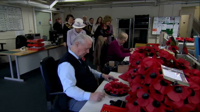 vídeos y material grabado en eventos de stock de queen pays a visit to poppy factory england london richmond int various shots of poppies being made by hand general views of people waiting / car... - corona arreglo floral