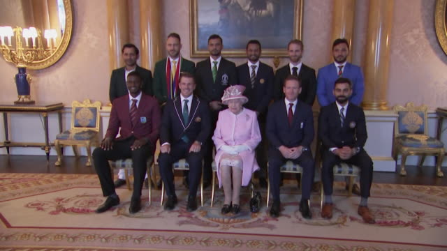 vídeos de stock, filmes e b-roll de queen poses for photo with the captains of the teams playing in the 2019 cricket world cup buckingham palace - campeonato esportivo
