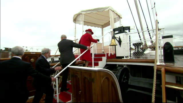 Queen reopens Cutty Sark to the public and launches Diamond Jubilee barge Queen Elizabeth II entering Cutty Sark Queen along on deck Queen and Prince...