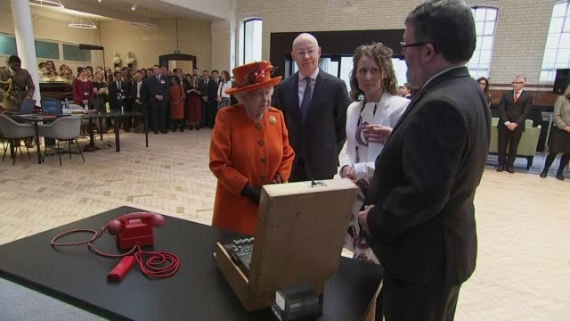 queen shares first post on instagram at science museum exhibition launch; england: london: kensington: science museum: int queen elizabeth ii viewing... - curator stock videos & royalty-free footage