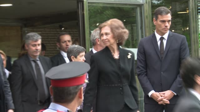 queen sofia pedro sanchez jose guirao and teresa cunillera attend the funeral for the soprano montserrat caballe - montserrat caballé stock videos & royalty-free footage