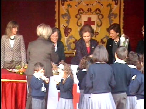 Queen Sofia presides a table at 2009 Red Cross fundraising campaign Madrid Spain
