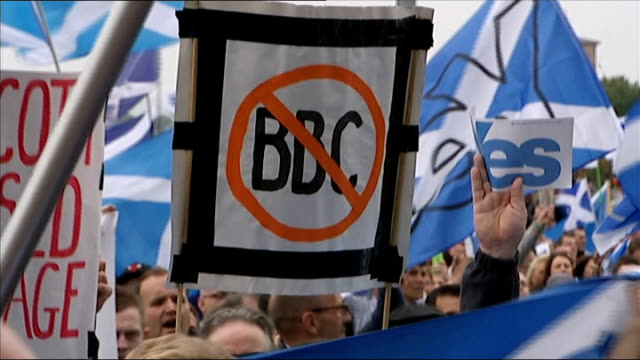 Queen speaks about Scottish Independence Referendum Glasgow Protest outside BBC Headquarters over allegedly biased reporting with supporters holding...